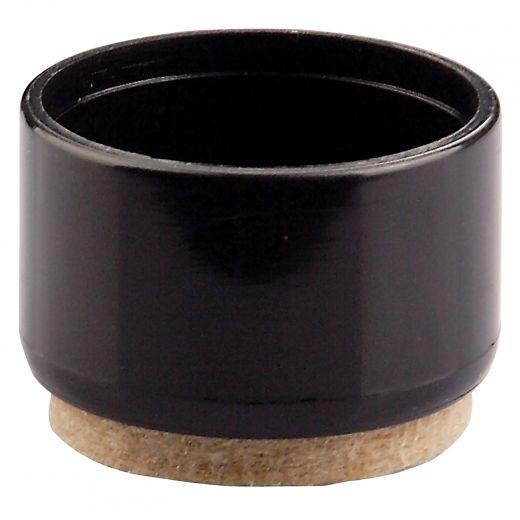 "3/4"" Black Plastic Round Leg Tip With Felt"