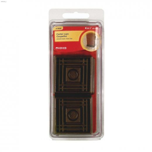 """1-5/8"""" Brown Smooth Rubber Square Cup"""