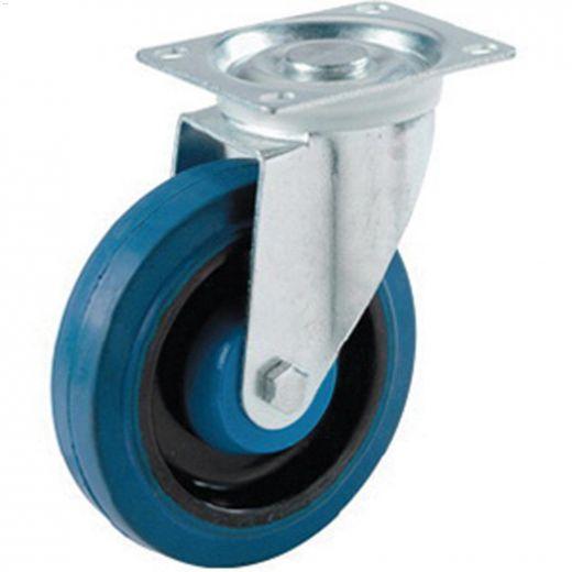 "Dyna-tred 4"" Blue Rubber Wheel Swivel Caster"