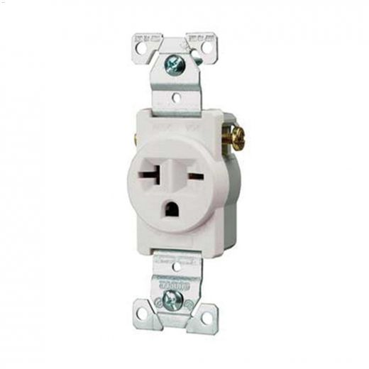 20 A White Straight Blade Single Receptacle