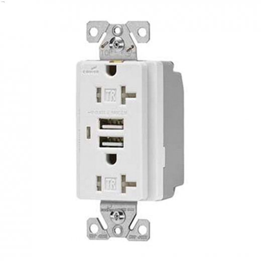 20 A White Combination USB Charger With Receptacle