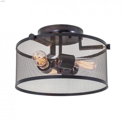 Gastown 3 Light 100 Watt Graphite Semi Flushmount Light