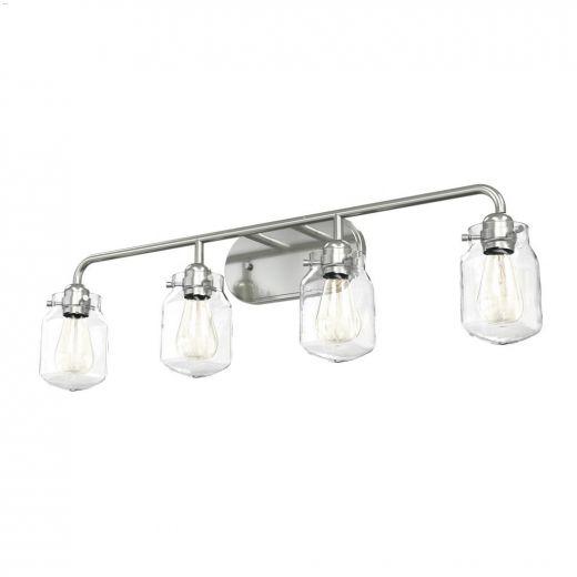 Lexington 4 Light A19 100 Watt Satin Nickel Vanity Light