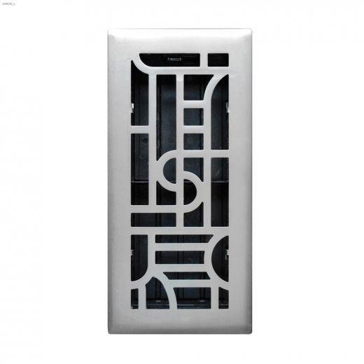 """3\"""" x 10\"""" Satin Nickel Art Deco Design Floor Register"""