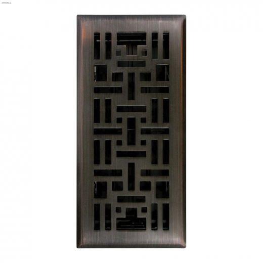 """4\"""" x 10\"""" Oil Rubbed Bronze Arts & Craft Floor Register"""