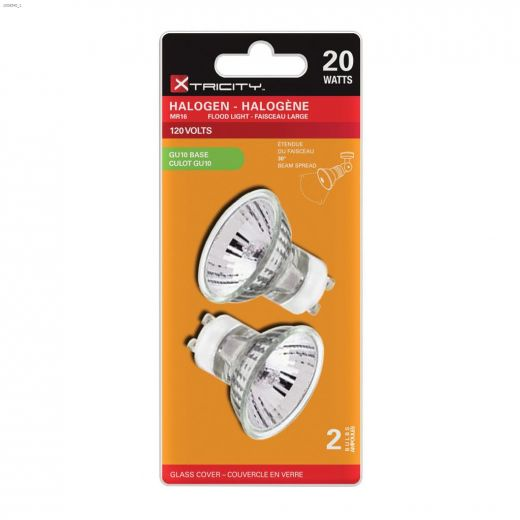 Clear 20 Watt GU10 MR16 Halogen Bulb-2\/Pack