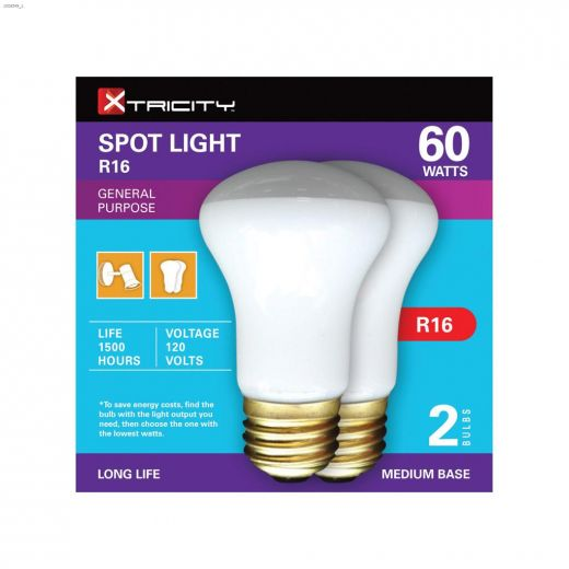 White 60 Watt E26 Medium R16 Incandescent Bulb-2\/Pack