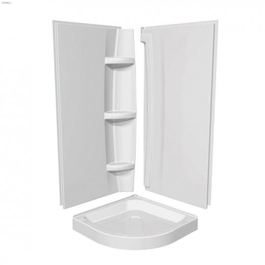 White Olympia Round Shower Wall Set
