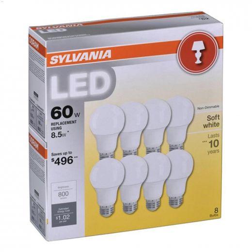 8.5 Watt E26 Medium A19 LED Bulb-8\/Pack