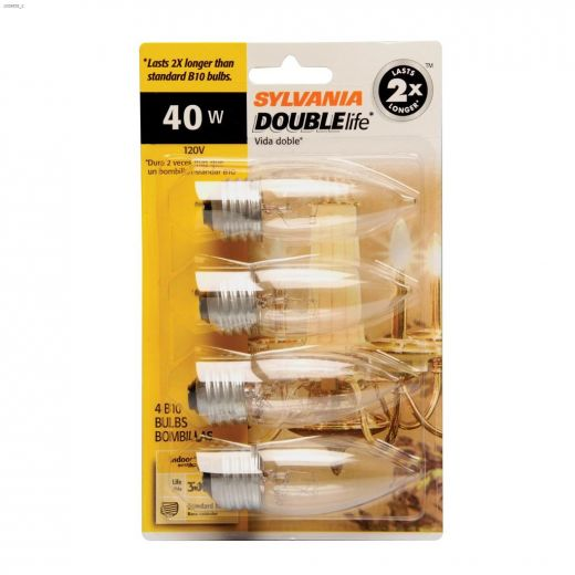 Clear 40 Watt E26 Medium B10 Incandescent Bulb-4\/Pack