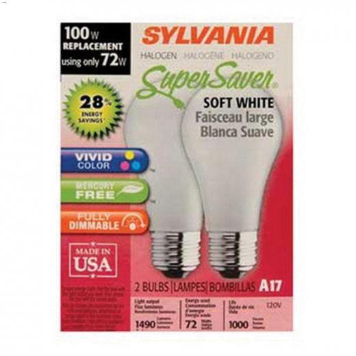 Super Soft White 72 Watt E26 Medium A19 Halogen Bulb-2\/Pack