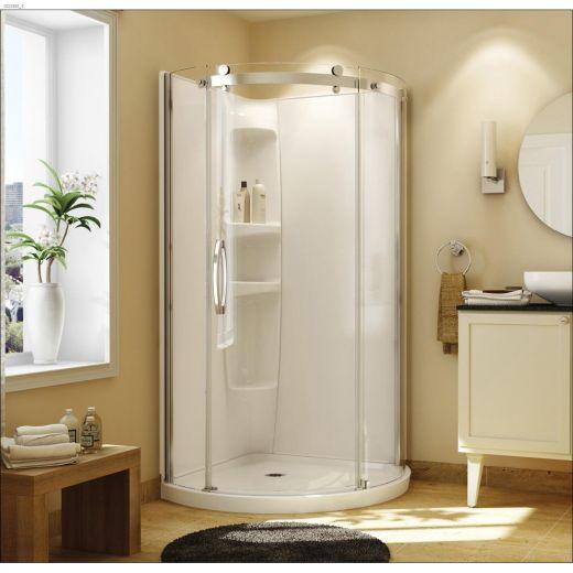 Chrome Plated Shower Stall Kit W\/Shower Door & Drain & Base