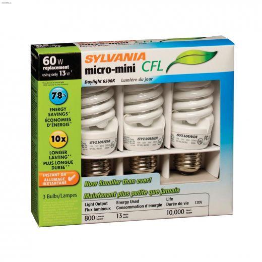 13 Watt Medium Screw Spiral Micro Day CFL Bulb-3\/Pack