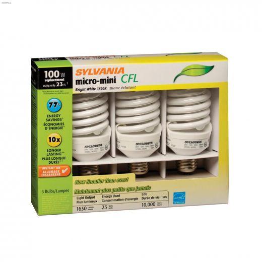 23 Watt Medium Screw Spiral CFL Bulb-3\/Pack
