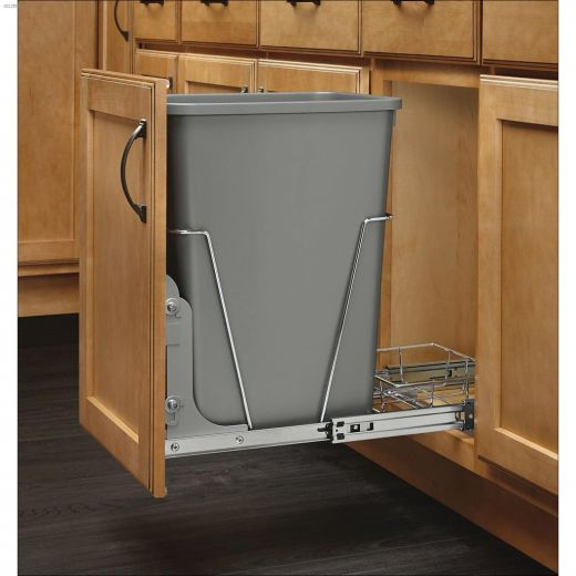 Gray\/Silver Metal Pull Out Trash Can Mounting Kit