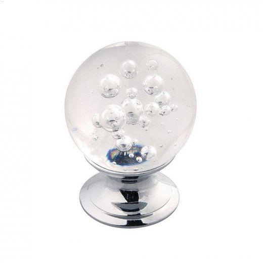"""1-1\/4\"""" Glass With Chrome Gemstone Cabinet Knob"""