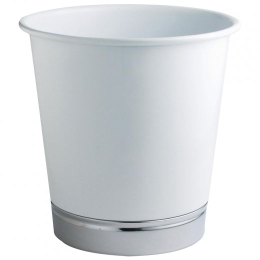 Powder Coated White/Chrome Garbage Can