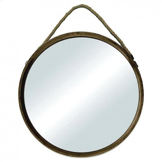 """18-1\/2\"""" x 18-1\/2\"""" Wood Mirror With Rope"""