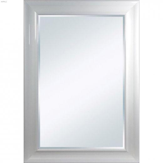 """Optima 23.38\"""" x 27.38\"""" Bevel Glossy White Mirror"""
