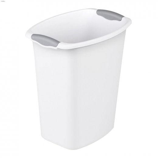 3 gal White With Titanium Insert Open Wastebasket