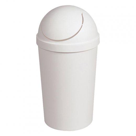 3 gal White Round Swing Top Wastebasket