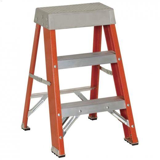 2' Orange Fiberglass Type 1A Step Ladder