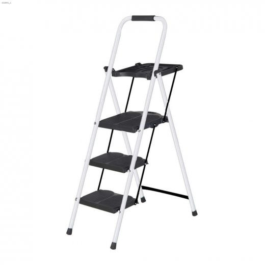 Steel Folding 3-Step Ladder With Tray