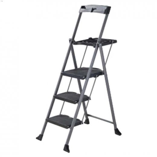 Steel Folding Deluxe 3-Step Ladder