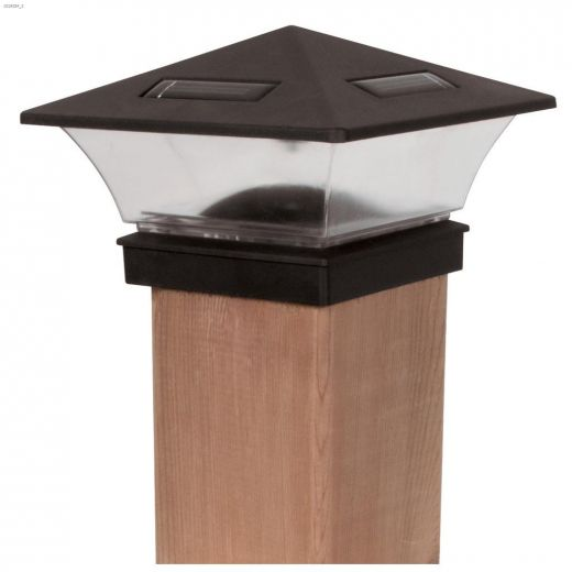 4 Lumens Black Solar Fence Post Cap Light With Adapter