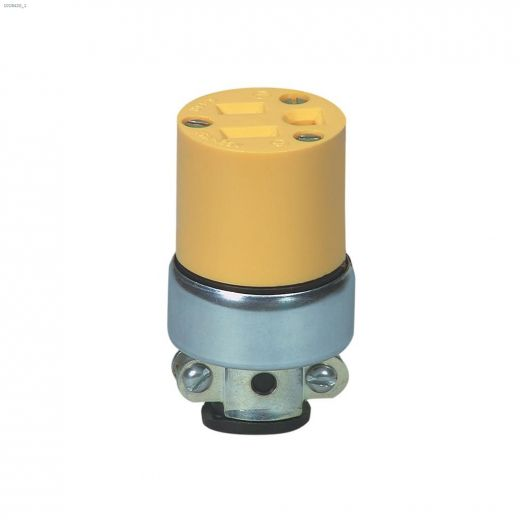 Vinyl Yellow Armoured Connector 15A 125V 2P\/3W