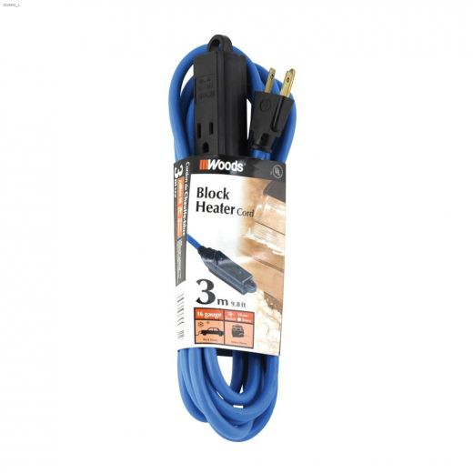 3 Outlet 16 AWG 3C 3 m Blue Block Heater Extension Cord