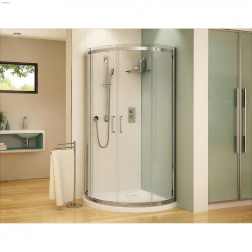 """36\"""" x 36\"""" x 75\"""" Chrome Clear Curved Sliding Shower Door"""
