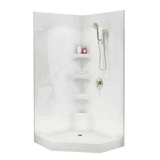 Equinox II White Acrylic 3-Piece Shower
