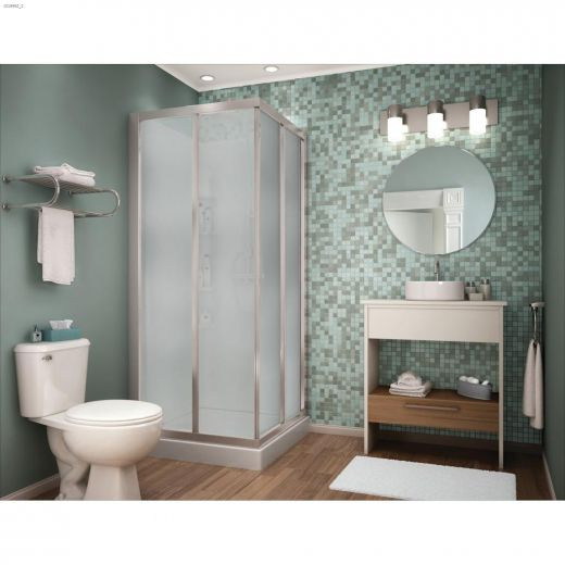 Mediteranean IIII White Polystyrene 3-Piece Corner Shower