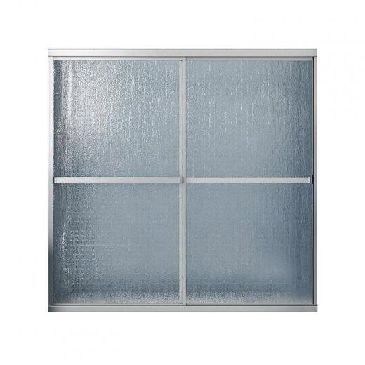 "54 - 59-1/2"" Chrome Raindrop 2-Panel Sliding Tub Door"