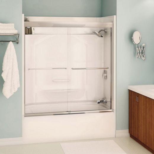 """51 - 55"""" x 57"""" Chrome Clear 2-Panel Sliding Tub Door"""