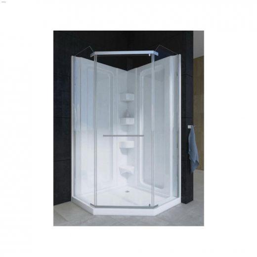 """38 38-3\/4\"""" x 38-3\/4\"""" x 76-1\/4\"""" White 1-Piece Corner Shower"""