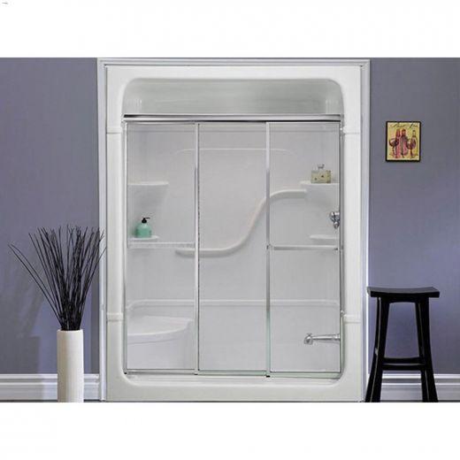 "56\"" x 3\"" x 56\"" Silver Clear Shower Door"