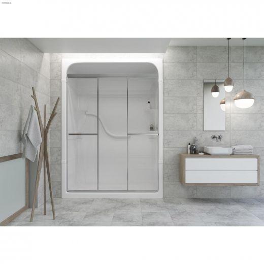 "41-7\/8 - 42-7\/8\"" Silver Clear Tri Panel Sliding Shower Door"