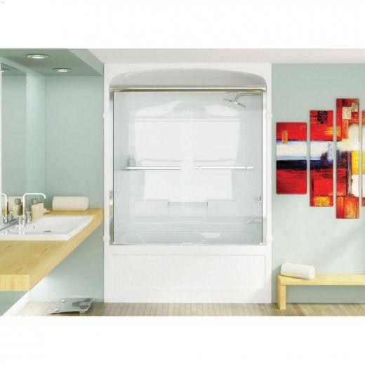 """55 - 56\"""" Silver Plain Bypass Tub Shower Door"""