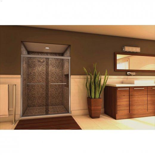 """51-3\/4 - 52-3\/4\"""" Silver Plain Bypass Tub Shower Door"""