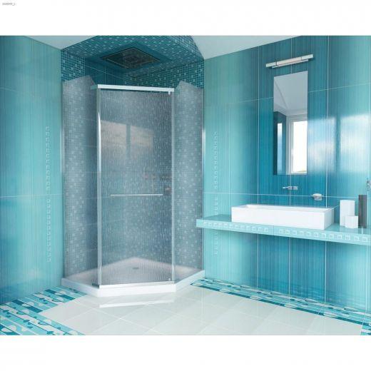 """72\"""" Silver Raindrop Pivot Shower Door"""