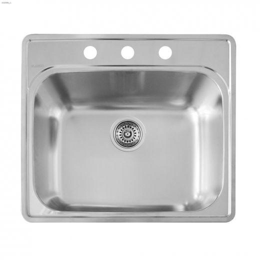 """Essential 25\"""" x 22\"""" Satin Brushed Kitchen Sink"""