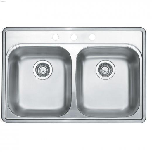 """Essential 2 21\"""" x 31\"""" x 8\"""" H Brushed Satin Kitchen Sink"""
