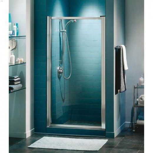 "23 - 24-3\/4\"" Chrome Raindrop 1-Panel Pivot Shower Door"