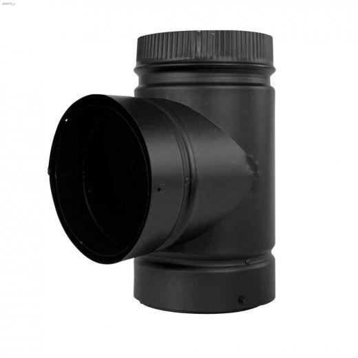 "6\"" x 13-3\/4\"" Black Smoke Pipe Tee With Cap"