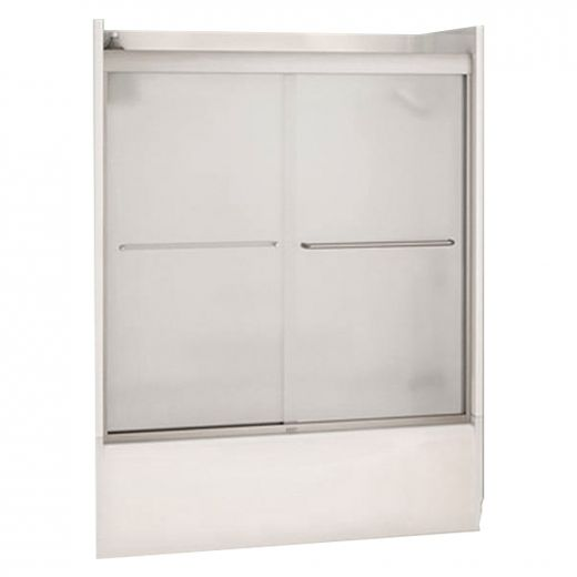 "51 - 55"" Brushed Nickel Mistelite 2-Panel Sliding Tub Door"