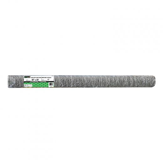 """1"""" x 36"""" x 25' Hot Dipped Galvanized Poultry Netting"""