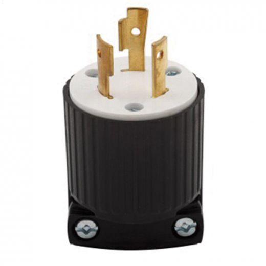 Black\/White Locking Plug 20A 250V 2P\/3W