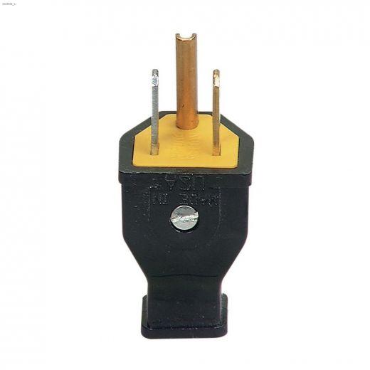 Black Spring Action Straight Blade Plug 15A 125V 2P\/3W